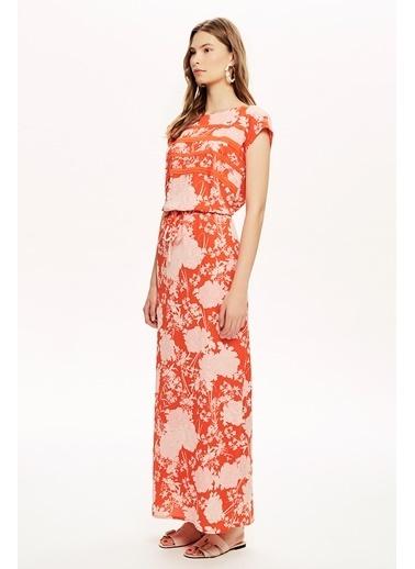NaraMaxx Uzun Yırtmaçlı Desenli Elbise Renkli